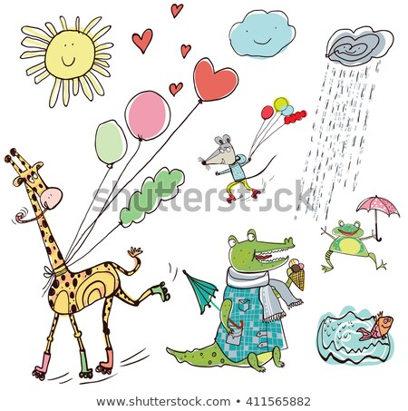 giraffe playing roller skate in nature stock photo © colematt