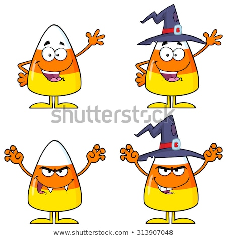 Happy Candy Corn Cartoon Character With A Witch Hat Waving Stock photo © hittoon