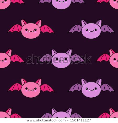 cute vampire bat cartoon character flying stock photo © hittoon