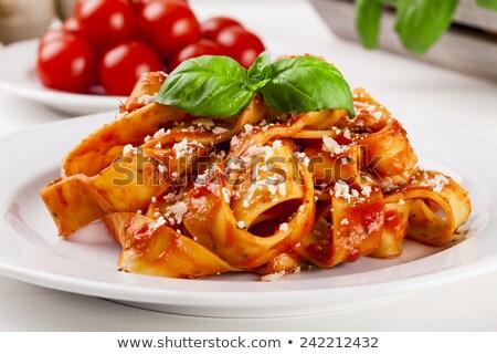 Tagliatelle vejetaryen makarna yemek mantar plaka Stok fotoğraf © grafvision