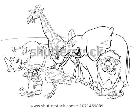 Stockfoto: Grappig · komische · dier · groep · cartoon
