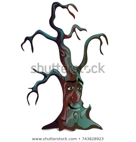 fantasy dark withered deciduous tree isolated on white background sketch for greeting card festive stock photo © lady-luck