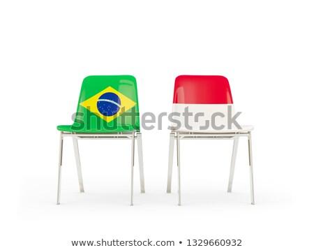 Kettő székek zászlók Brazília Indonézia izolált Stock fotó © MikhailMishchenko