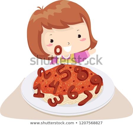 Gyerek lány spagetti húsgombócok számok illusztráció Stock fotó © lenm