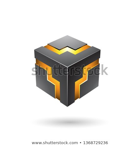 Zwarte zigzag kubus vector illustratie geïsoleerd Stockfoto © cidepix