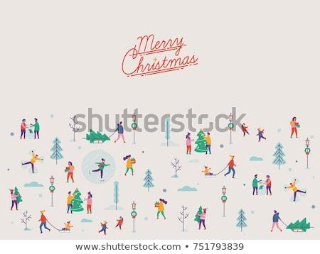 家族 徒歩 そり 雪 屋外 ベクトル ストックフォト © robuart