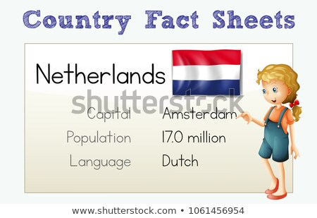 Flashcard for country fact of Netherlands Stock photo © colematt