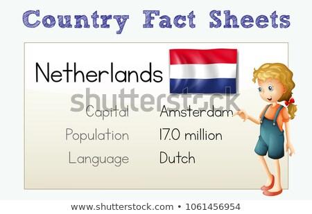 Land feit Nederland illustratie kind student Stockfoto © colematt