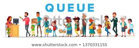 Foto stock: Long Queue in Food Store, Vector Banner Concept