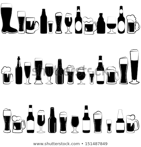 Different Bottles And Glasses With Beer Set Vector Stock fotó © pikepicture