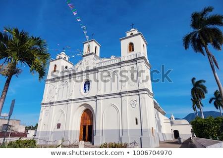 Dame onderstelling kerk El Salvador stad Blauw Stockfoto © benkrut