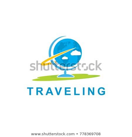 Zielone linia lotnicza logo ziemi samolot niebo Zdjęcia stock © djdarkflower