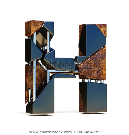 rusty metal font letter h 3d stock photo © djmilic
