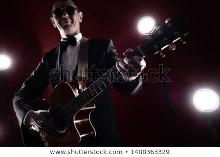 blue suit Glasses man_classic music Stock photo © toyotoyo