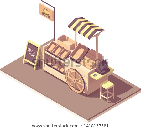 Vector isometric fruits and vegetables kiosk cart Stock photo © tele52