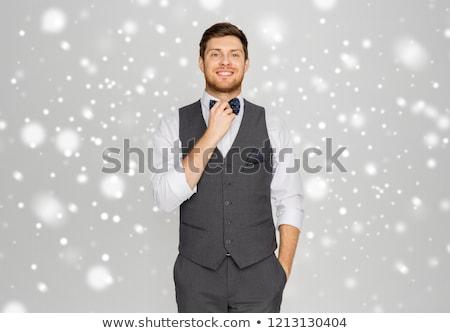 Mutlu adam takım elbise pansuman parti Stok fotoğraf © dolgachov
