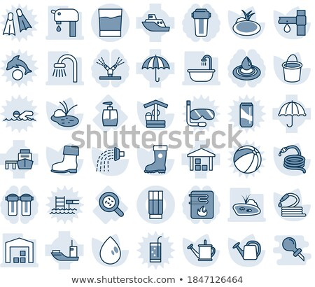 Stock photo: Drop Water Dripping In Sea Vector Thin Line Icon