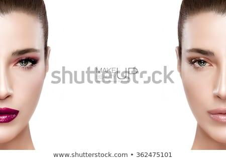 Gyönyörű modell lány szépség smink piros ajkak Stock fotó © serdechny