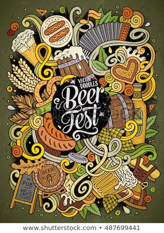 Cartoon doodles Beer fest illustration. Bright colors Oktoberfest funny picture Stock photo © balabolka