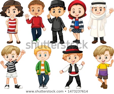 set of isolated objects theme children around the world stock photo © bluering