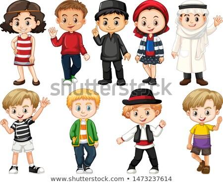 Ingesteld geïsoleerde objecten kinderen rond wereld illustratie Stockfoto © bluering