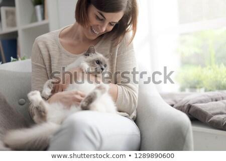 かなり 若い女性 キティ 頬 両方 ストックフォト © Giulio_Fornasar