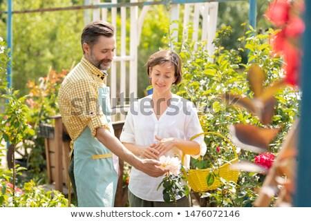 Kortárs kertész mutat nő új fehér virágok Stock fotó © pressmaster
