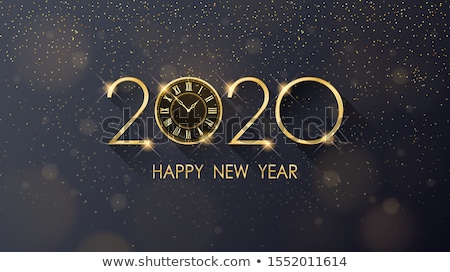 2020 New Year greeting card with golden clock on black background. Vector illustration Stock photo © olehsvetiukha