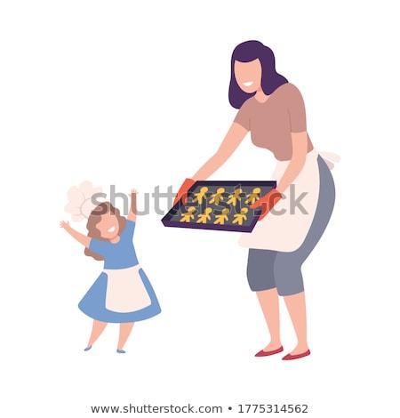 Stockfoto: Meisjes · koken · cookies · gelukkig · liefhebbend · familie