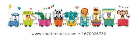 Aranyos állatok vonat bagoly mosómedve zsiráf kacsa Stock fotó © Decorwithme