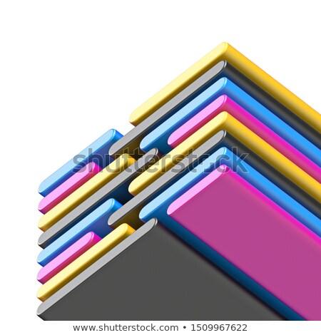 Abstract diagonal CMYK lines 3D Stock photo © djmilic