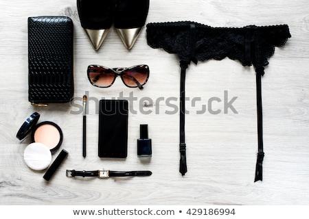 Liga cinturón icono botón tejido femenino Foto stock © smoki