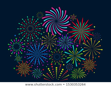 Christmas Banner Vector. Fireworks Salute. Header. Background Illustration Stock photo © pikepicture