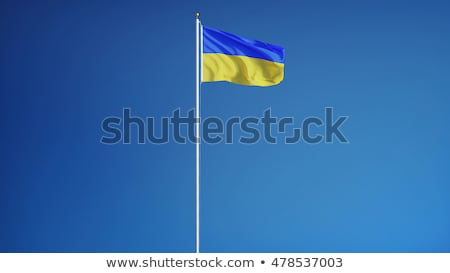 Flagpoles with European Union and Ukraine flags on blue sky back Stock photo © vapi