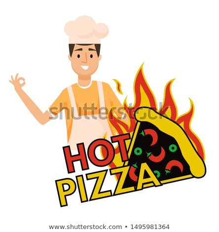 Hot Pizza Burning Fastfood Snack and Baker Vector Stock photo © robuart