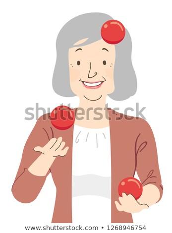 Senior Woman Juggle Balls Illustration Stock photo © lenm