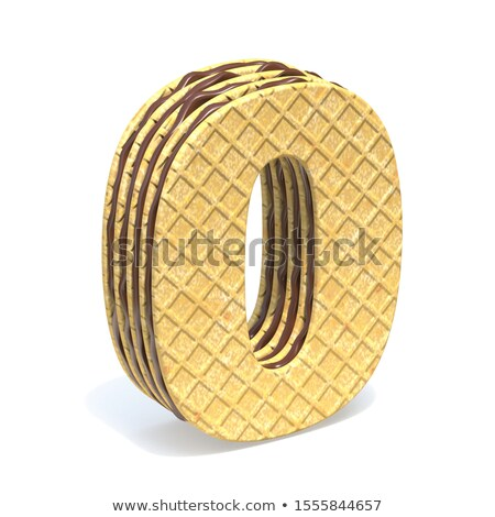 Waffles font with chocolate cream filling Number 0 ZERO 3D Stock photo © djmilic