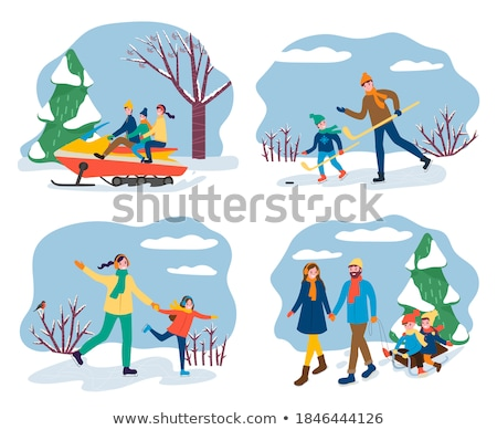 Couple Skating on Ice Rink in Winter Pine Forest Stock photo © robuart