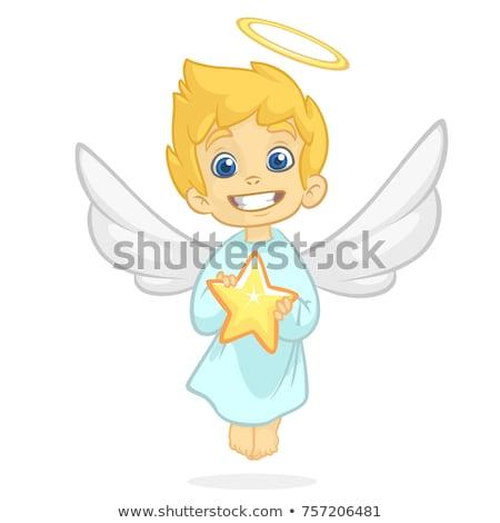 Cartoon ange homme illustration heureux ailes Photo stock © bennerdesign