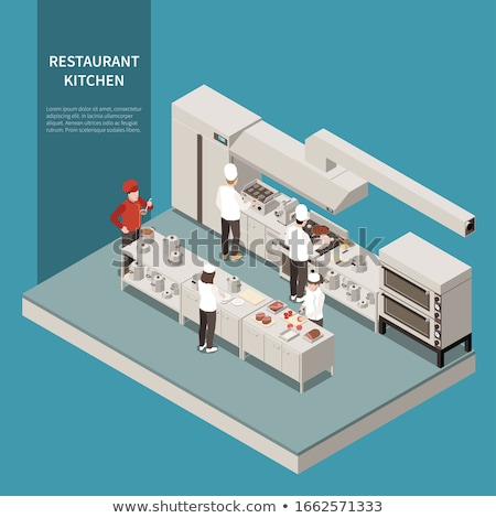 Izometrik mikrodalga fırın gıda Bina dizayn Stok fotoğraf © Mark01987