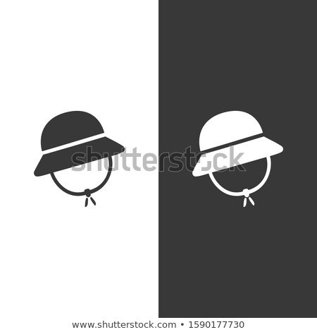 Rain cap. Icon on black and white background. Winter clothing vector illustration Stock photo © Imaagio