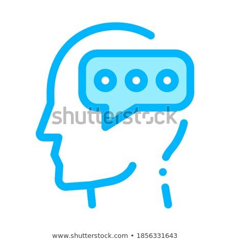 Wpisując wiadomość człowiek sylwetka umysł wektora Zdjęcia stock © pikepicture