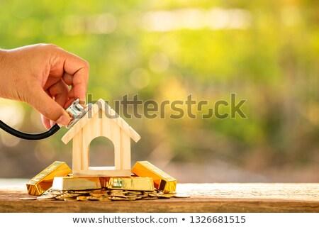 Man Using Stethoscope To Check Model House Stock photo © AndreyPopov