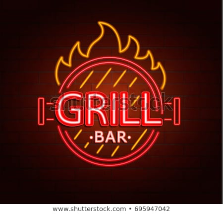 Grill neon grill promocji strony tle Zdjęcia stock © Anna_leni