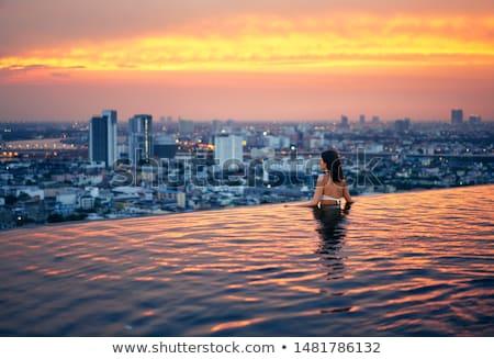 若い女性 リラックス スイミングプール 屋根 先頭 すごい ストックフォト © GVS
