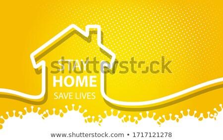 пребывание домой безопасной 3d текста дома работу Сток-фото © SArts