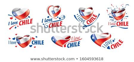 Bandeira Chile amor coração viajar Foto stock © butenkow