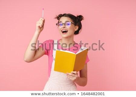 Fotó izgatott bájos lány szemüveg ír Stock fotó © deandrobot