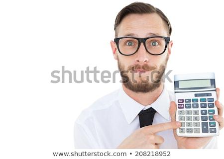 Nerd junger Mann Rechner isoliert weiß Geld Stock foto © Elnur