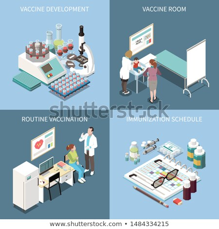Vaccination Syringe Isometric Icons Set Vector Stock photo © pikepicture
